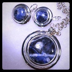 Étienne Aigner 3 pièce necklace earring lapis set